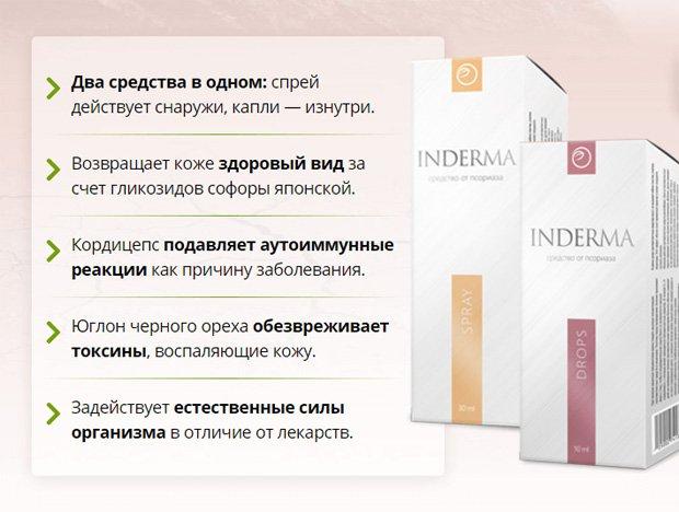Две упаковки препарата Индерма и описание его действия