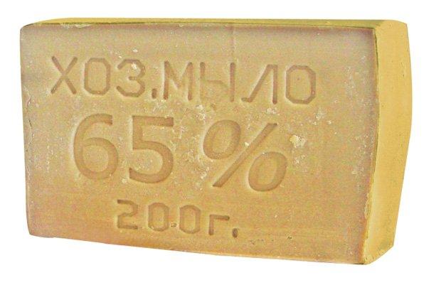 Кусок хозяйственного мыла 65% при весе 200 грамм